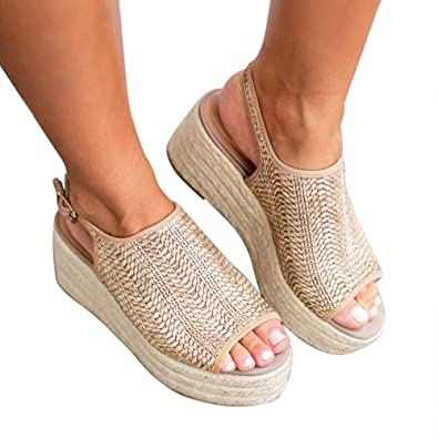 7ba90f21eb0 Blivener Espadrille Wedge Sandals Casual Summer Peep Toe Slingback Platform  Sandals Shoes BEIGE35 (5.5)