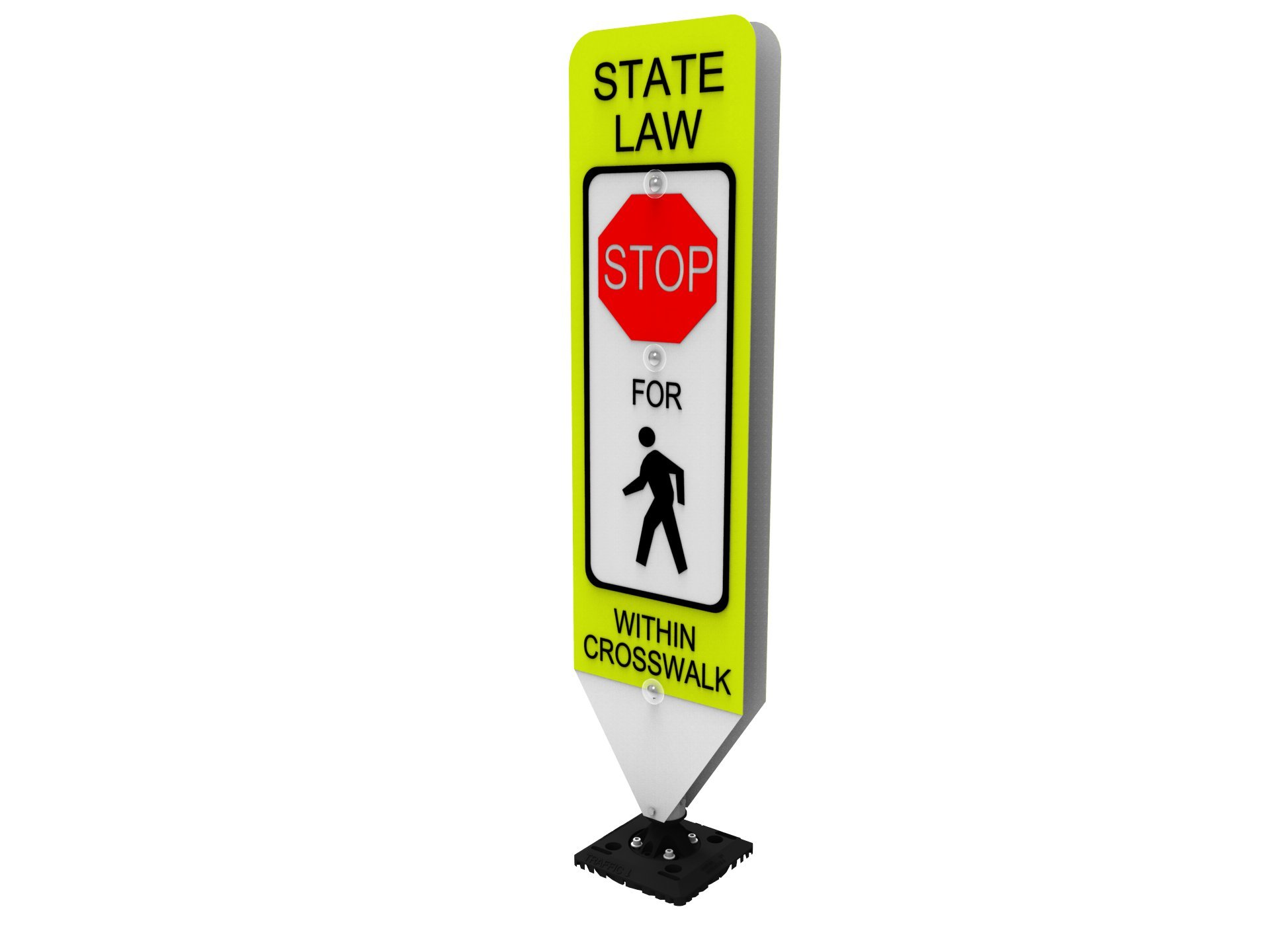 Impact Traffic - in-Street Pedestrian Crosswalk Sign, Stop, with Fixed Base - Industry Best Performer