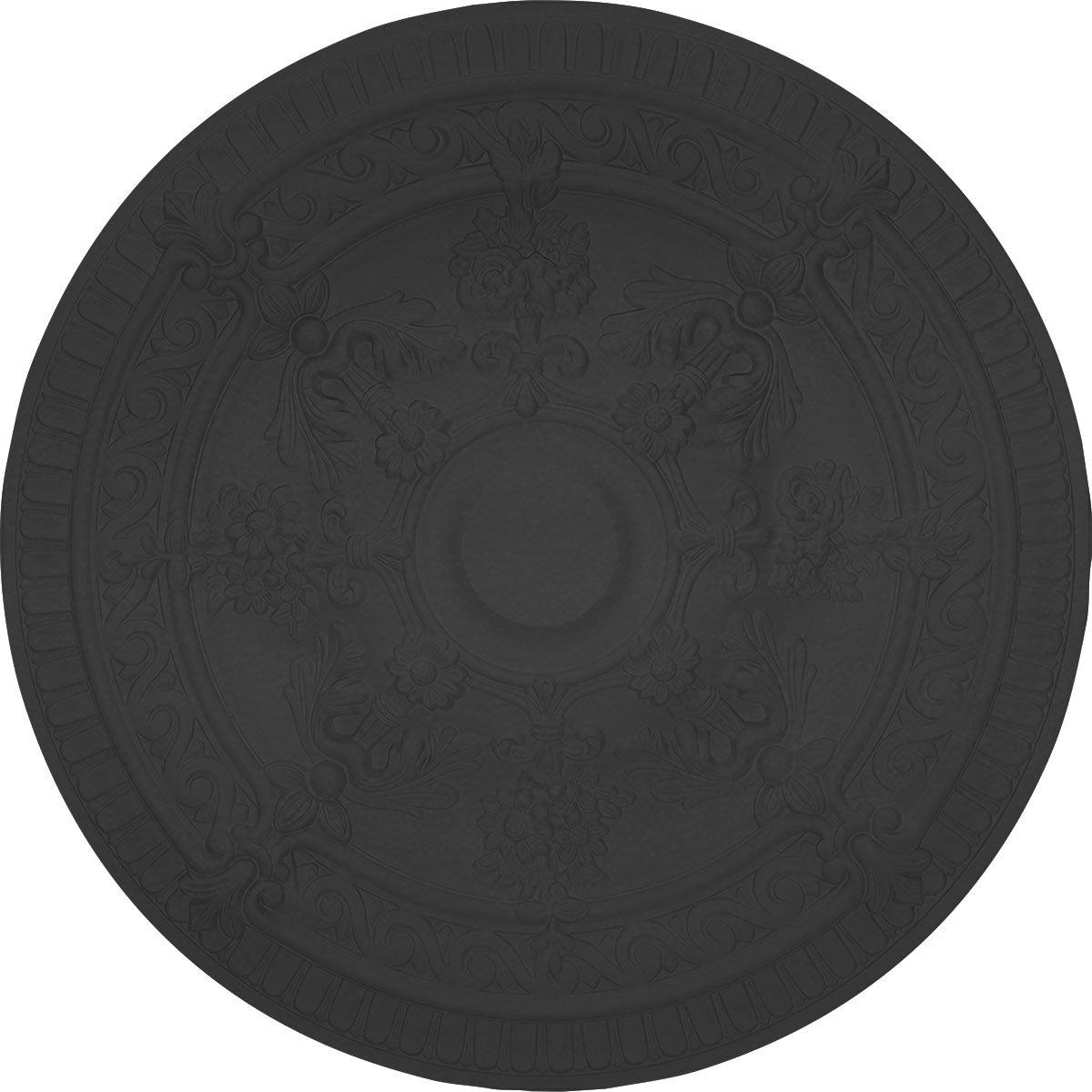 Ekena Millwork CM26VIBLF Vincent Ceiling Medallion, 26'' x 3'', Jet Black
