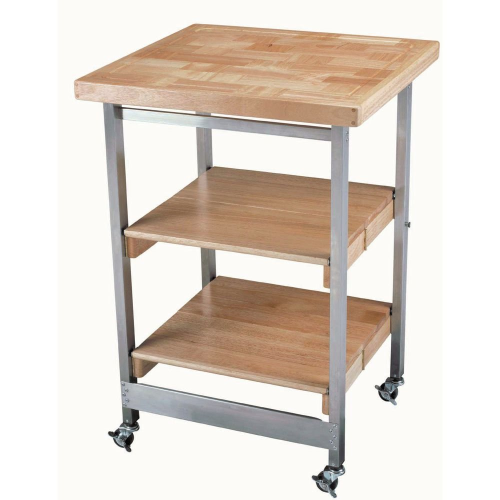 Folding Serving Cart With Small Hardwood Top 24W x 23 1-4L x 36H
