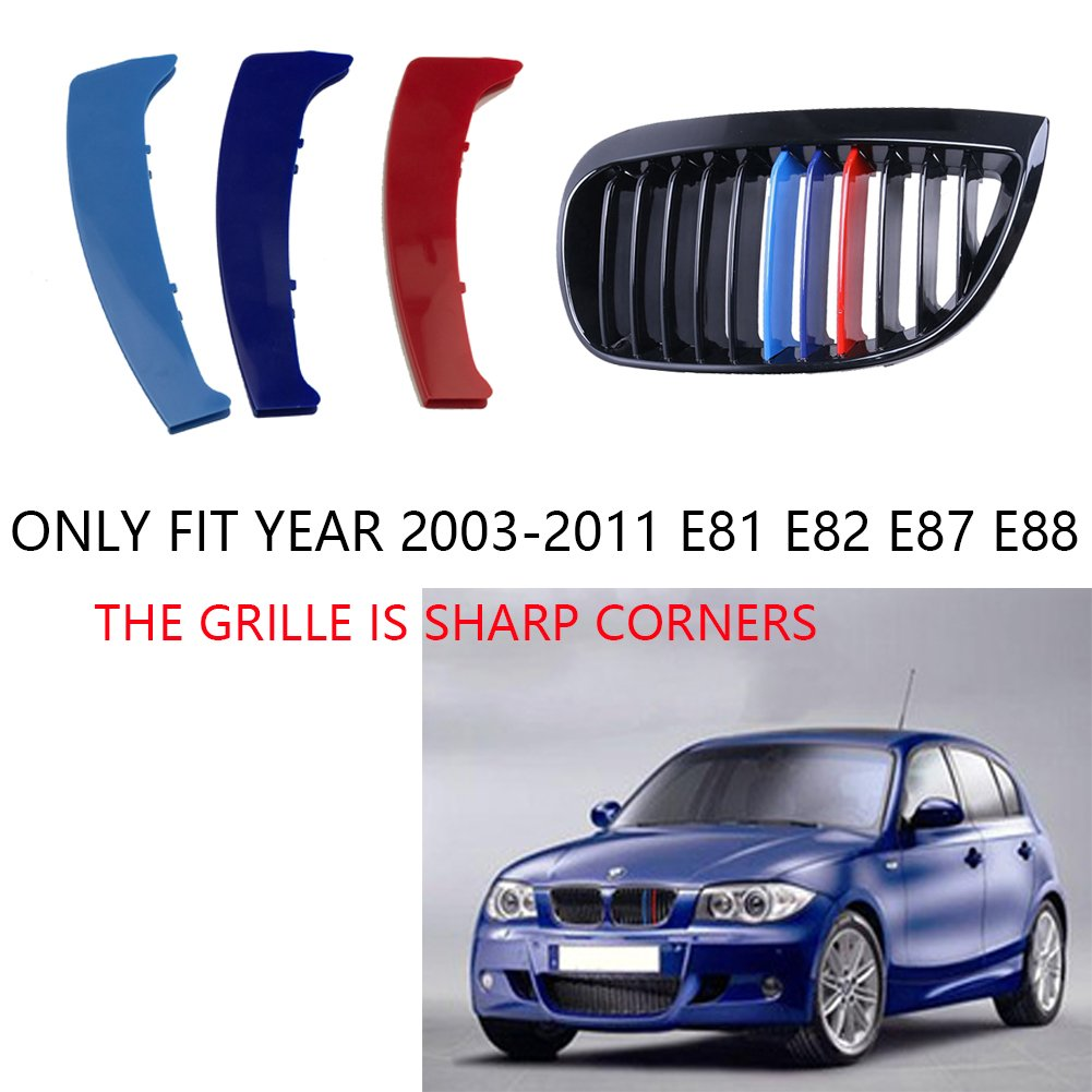 lanyun M Colored(red blue light blue) Grille Insert Trims For BMW 1 series 2003-2011 E81 E82 E87 E88 12 Standard Grille Beams Center Kidney Grill Sharp corners