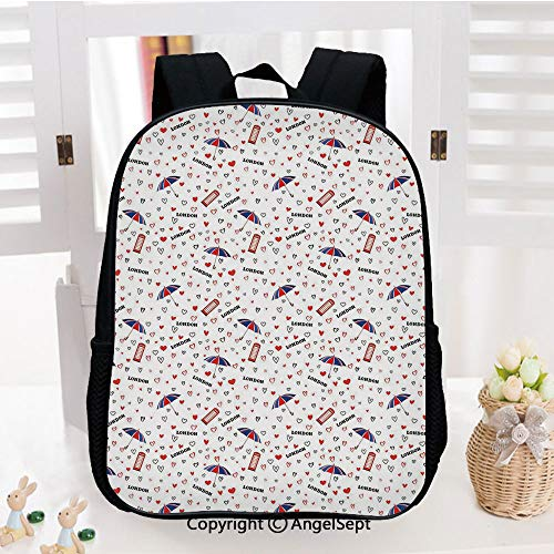 Casual Style Lightweight Backpack European Vacation Travel Theme British Icons Hearts Umbrella Telephone Booth Decorative School Bag Travel Daypack,Red Black Blue