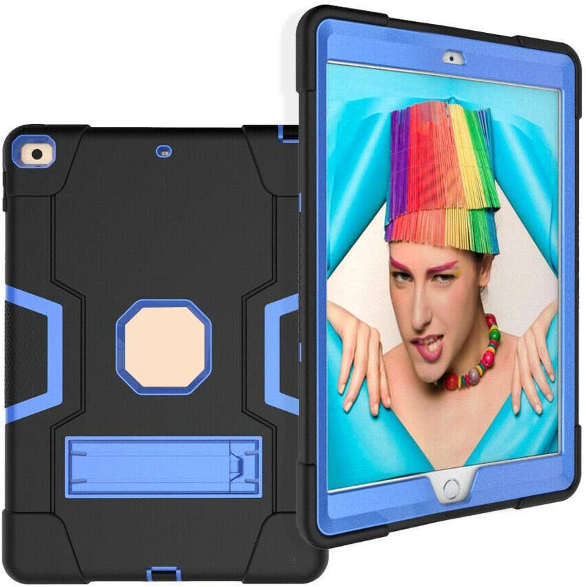Cherrry for iPad 7th Generation 10.2 case,iPad 8th Generation 10.2 Case,Heavy Duty Defender Shockproof Protective with Built-in Kickstand for Apple iPad 10.2 Inch 2019/2020 Released(Black/Blue)