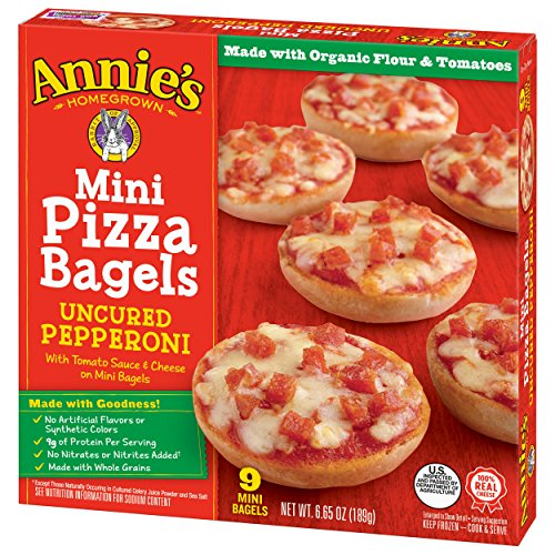 (Annie's Pizza Bagels, Uncured Pepperoni Mini Pizza Bagels, Frozen Snacks, 9 Mini Bagels)