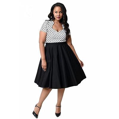 Remitido Women\'s Plus Size 50s Vintage Polka Dot Swing Rockabilly ...