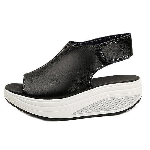 Zeppa Comfort Camminare Scarpe da Ginnastica (A Nero, EU:39)