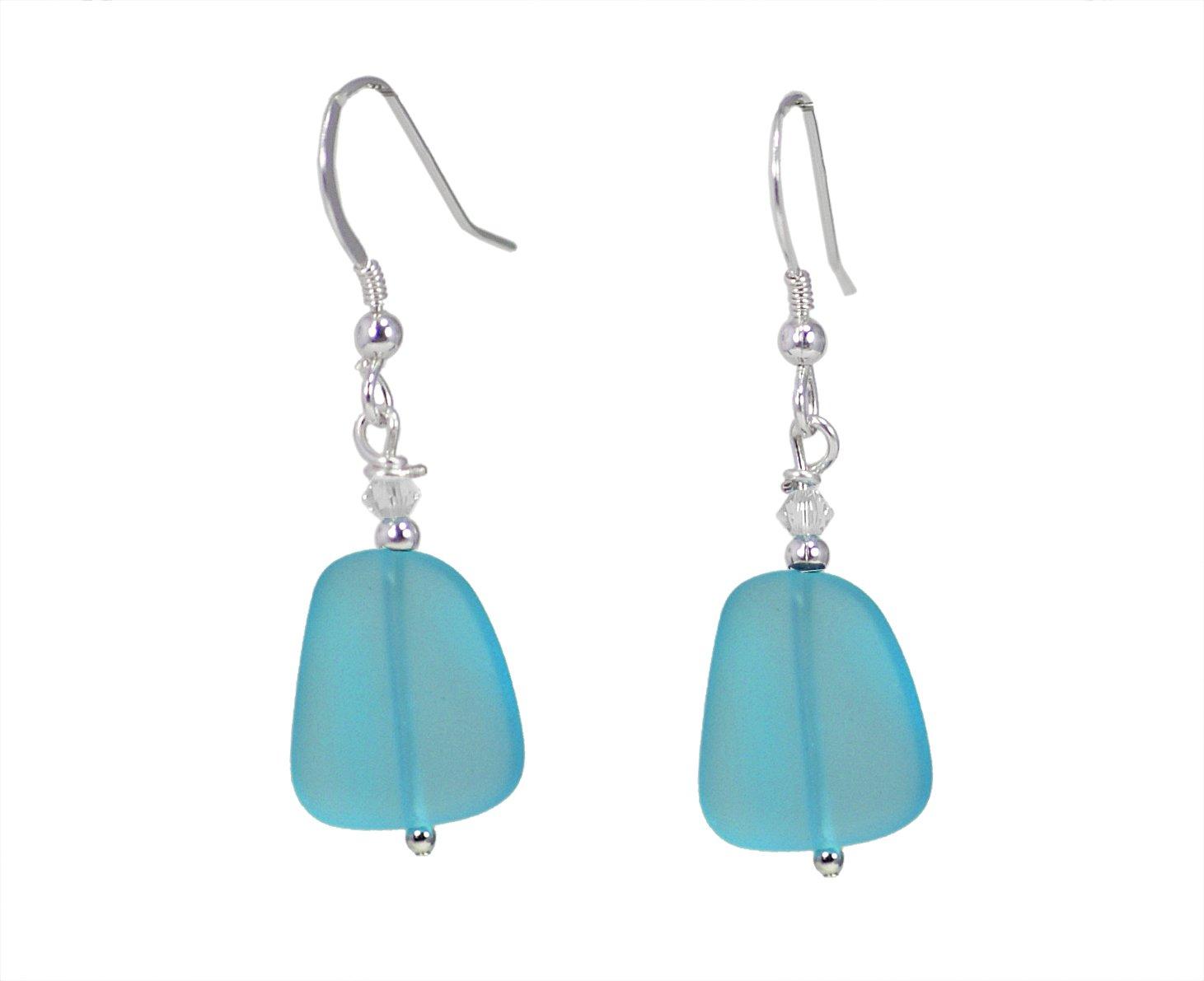 Sea Glass Drop Earrings (Pacific Blue)