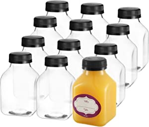 8 Oz Empty Plastic Juice Bottles with Lids – 12 Pack Small Square Drink Containers - Great for Storing Homemade Juices, Water, Smoothies, Tea and other beverages - Food Grade BPA Free