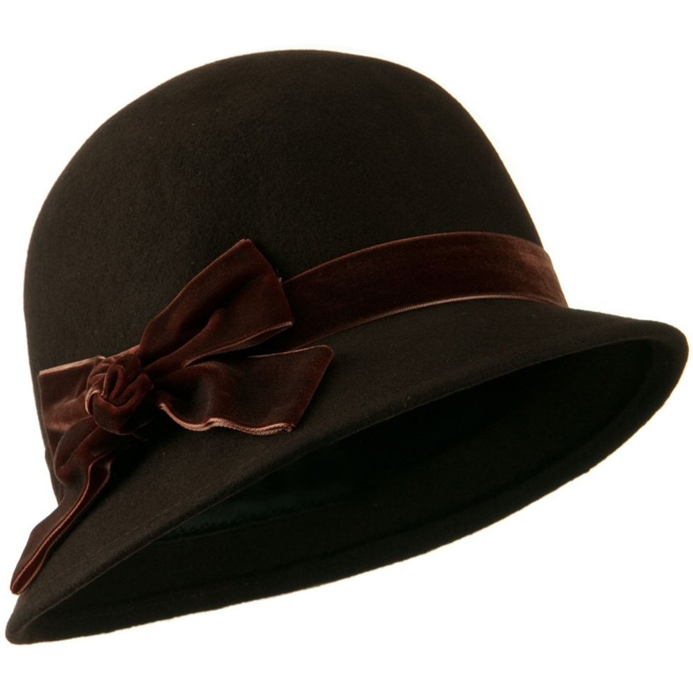 Jeanne Simmons Cloche Crushed Velvet Band and Knot Bow Hat - Brown OSFM by Jeanne Simmons