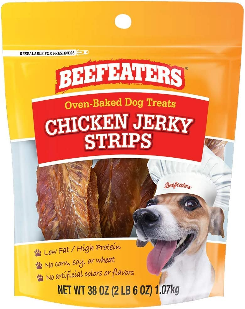 Beefeaters Chicken Jerky Strip Treats for Dogs   38 oz