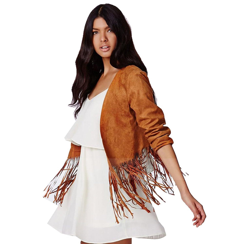 Blooming Jelly Damen Kurz Fringe Quasten Coat Tops Langarm-Cardigan