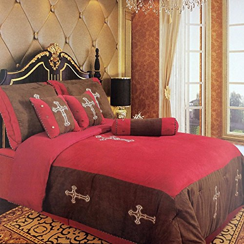 (Western Peak Embroidery Printed Texas Western Cross Luxury Comforter Suede 7 Pieces Set Red (King))