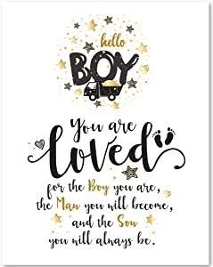 Gabby's Choice You are Loved for The Boy You are - 11x14 Unframed Art Print - Great Nursery Decor