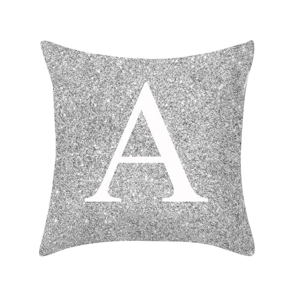 Jiacheng29 A-Z Letters Printed Silver Throw Pillow Case Cushion Cover Home Sofa Bed Decor S