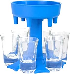 ECO-WILL 6 Shot Glass Dispenser and Holder with 6pcs 1.2 oz Acrylic Cup, Bar Game Wine Distributor,Family Party and BBQ Wine Dispenser,Cocktail, Drink Dispenser,Pour Wine Tools (BLUE)