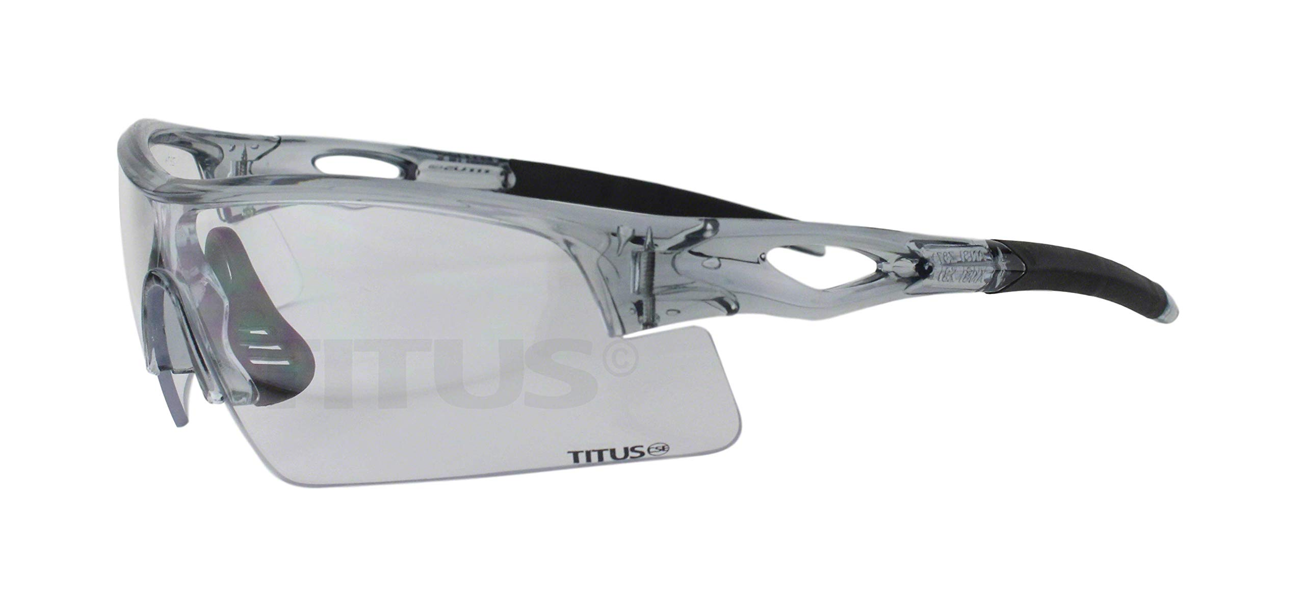 Titus All-Sports Frame Safety Glasses (Without Pouch, Grey Frame - Clear Lens) by Titus