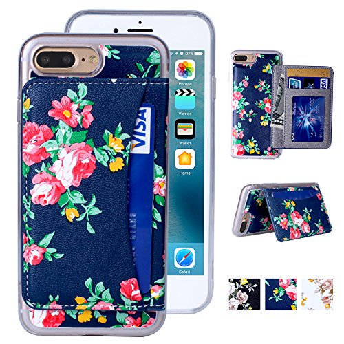 iPhone 8 Plus Wallet Case,MISSCASE iPhone 7 Plus Wallet Case, Premium PU Leather Flower Floral Back Folio Flip Magnetic Holster Phone Case for iPhone 7/8 Plus (5.5) with stand, Card Slots- Blue&Red