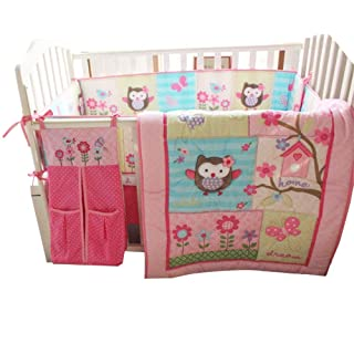 WINLIFE Crib Bedding Set For Girls 7 Pieces Baby Girls Crib Bedding Set with Bumper