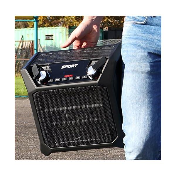ION Audio Sport - Enceinte 50 W Résistant à l'Eau, avec Batterie Rechargeable Longue Durée, Étanchéité IPX4, Bluetooth, Port USB de Charge, Entrée Aux et Microphone Haute-Définition 5