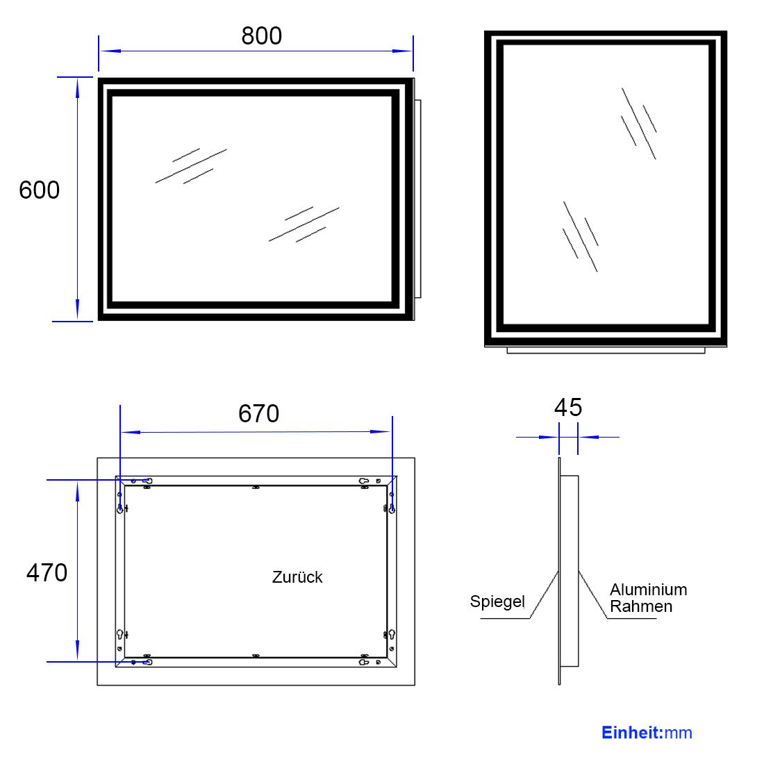 EMKE 50 x 70 x 4,5cm Badspiegel mit LED Beleuchtung Badezimmerspiegel Wandspiegel warmwei/ß