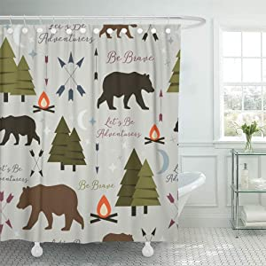 Abaysto Trees Arrows Bears Campfires and Modern Calligraphy Great for Woodland Home Decor Shower Curtain Sets with Hooks Polyester Fabric Great Gift