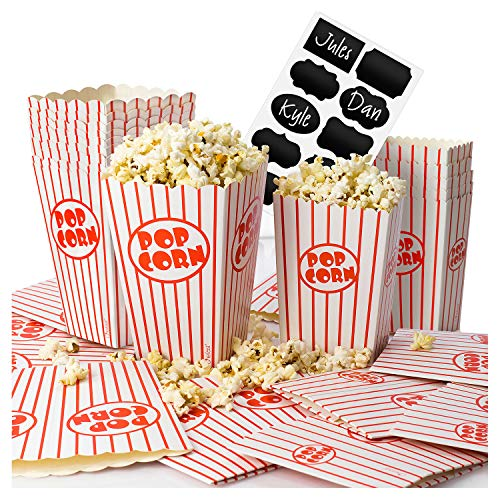 Chefast Popcorn Box Pack (20 Boxes) - 10x Medium and 10x Small Holders With 10x Chalkboard Stickers - Ultimate Party Favor - Great for Birthday and Theater Themed Parties, Movie Nights, Carnivals etc.