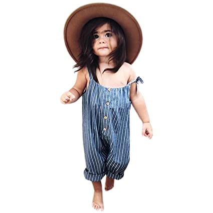 025612674dd4 Franterd Baby Girls Straps Rompers Toddler Kid Striped Romper with Button Overalls  Jumpsuits Pants Summer Clothing