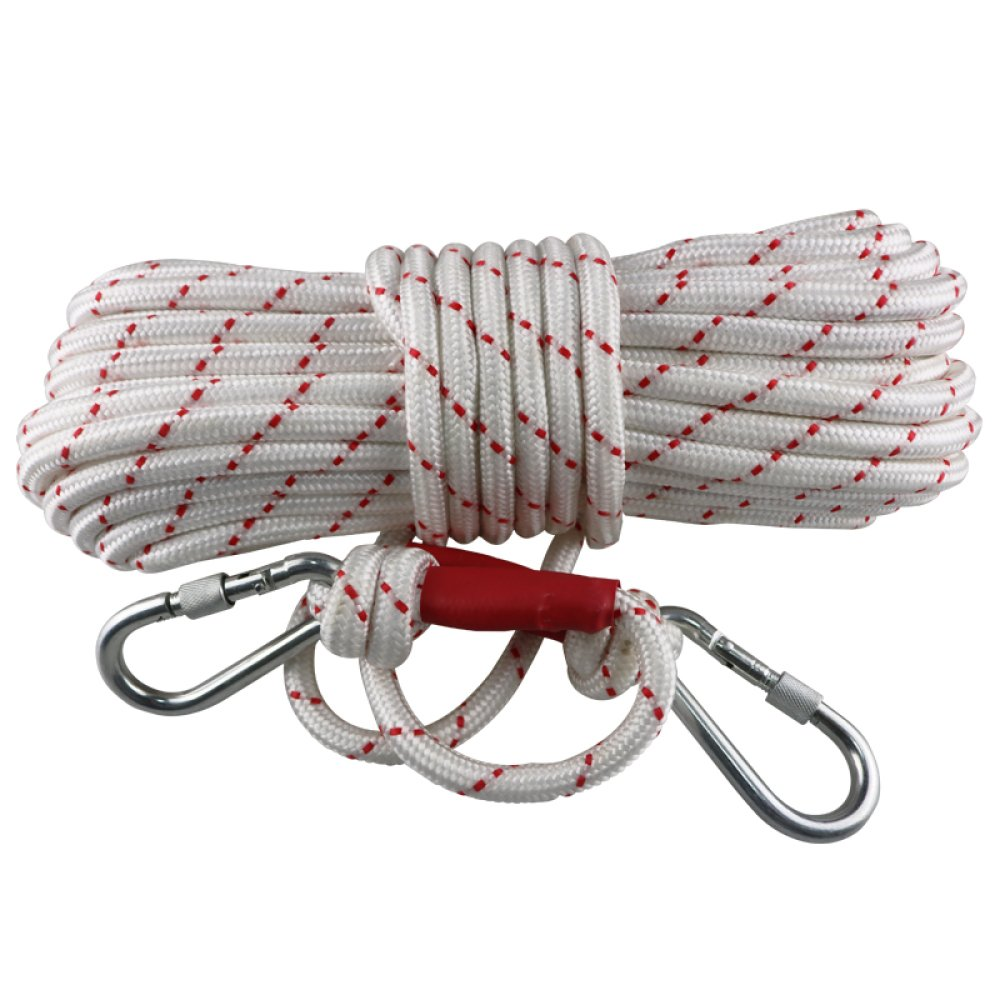 LDFN Rock Climbing Rope Safety Rope Bold Household Emergency Escape Rope Outdoor Recessing Rope,White+Red-90m12mm