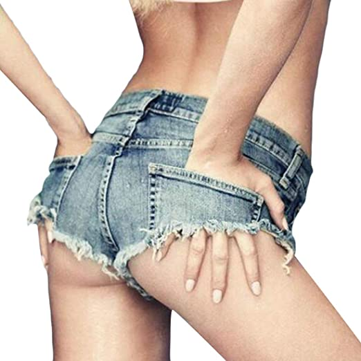 1e4a6b9e04 UUYUK Women Cut Off Ripped Destroyed Low Waist Beach Booty Micro Mini Thong Denim  Shorts Jeans