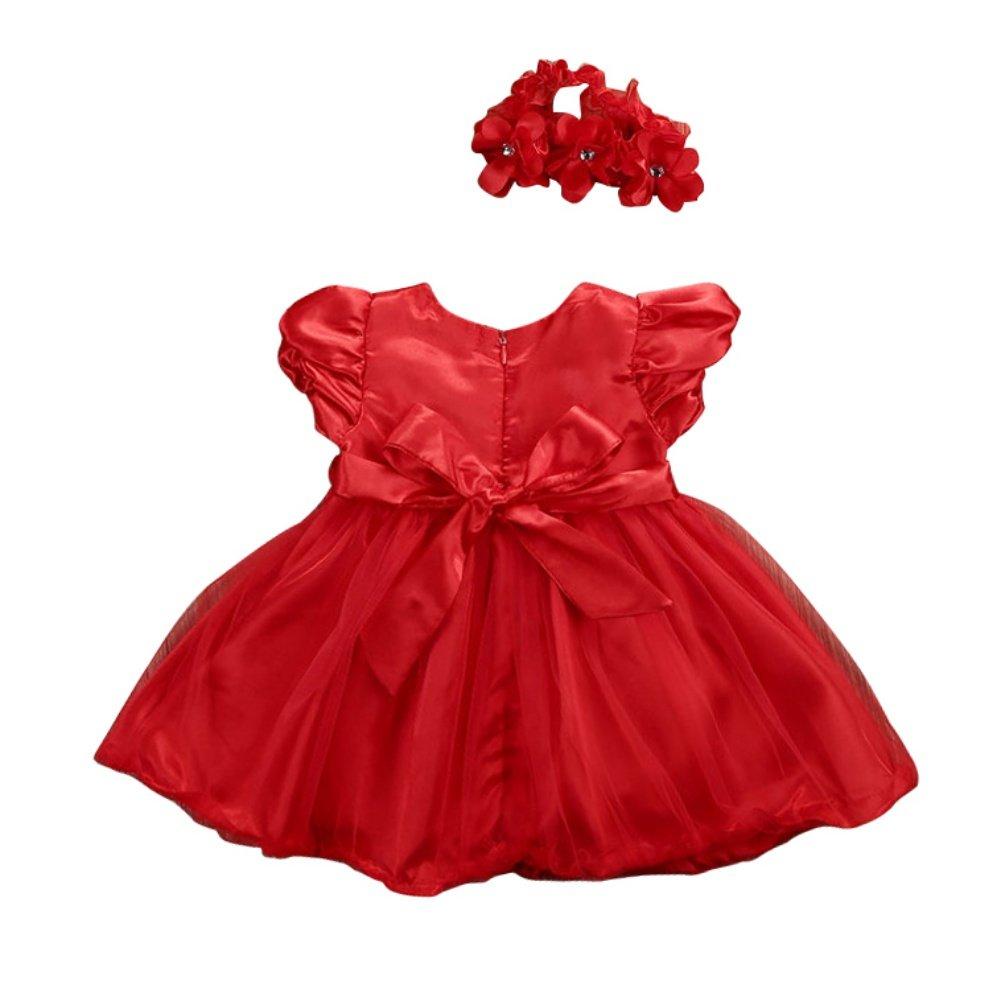 Loveble 2 Pcs Baby Kids Girls Princess Dress Lace Pageant Party Dress+Headband Outfit Set
