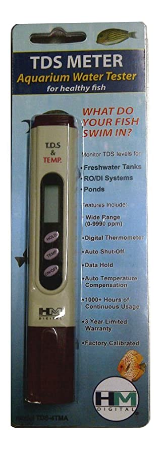 TDS-4TMA bolsillo Tamaño TDS del probador del metro para acuarios de agua dulce con Termómetro, 0-9.990 ppm TDS Rango de medición, 1 ppm Resolución, ...