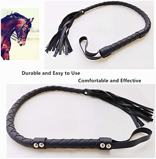 Costume Accessories Soft Faux Leather Harness Handle Whip Equestrianism Horse Crop Handle Whip Teaching Training Tool SYNCHAIN Horse Riding Crop Whip