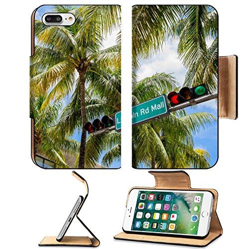 Liili Premium Apple iPhone 7 Plus Flip Pu Leather Wallet Case Lincoln Road Mall street sign located in Miami Beach - South Beach Lincoln Road Mall Miami