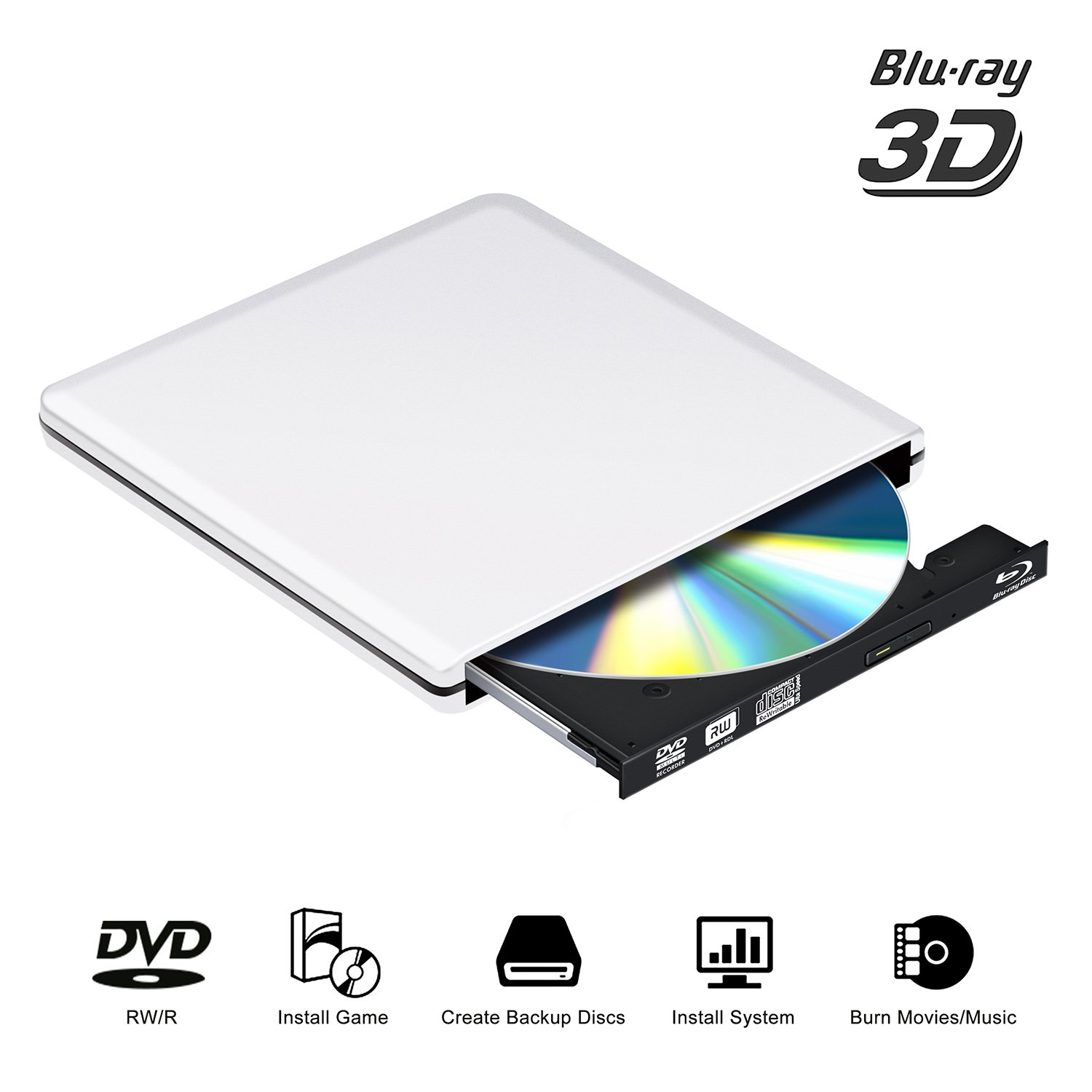 Blu Ray External DVD Drive 4K 3D,Bluray Player DVD-rw cd Opitical Disc Burner for Laptop PC Windows Mac Os (Silver)