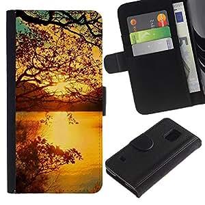 All Phone Most Case / Oferta Especial Cáscara Funda de cuero Monedero Cubierta de proteccion Caso / Wallet Case for Samsung Galaxy S5 V SM-G900 // Sunset Beautiful Nature 40