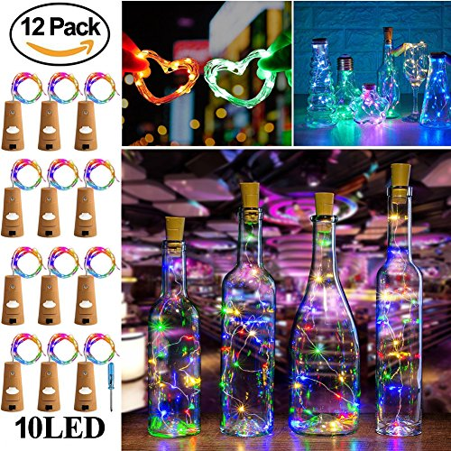 Wine Bottle Lights with Cork,RcStarry(TM) 3.3Ft/1M 10 LEDs Cork Lights for Bottle 12 Pack,Silver Wire Bottle Lights for DIY, Party, Decor, Christmas, Halloween,Wedding(Multicolor)