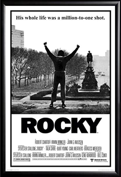 Framed classic movie rocky balboa 24x36 poster in basic black detail wood frame