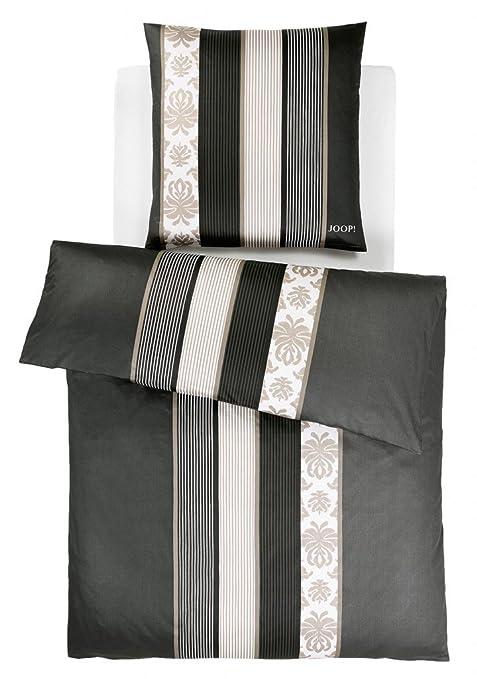 Joop Bettwäsche Ornament Stripe Satin Schwarz Größe 155x220 Cm 80x80 Cm