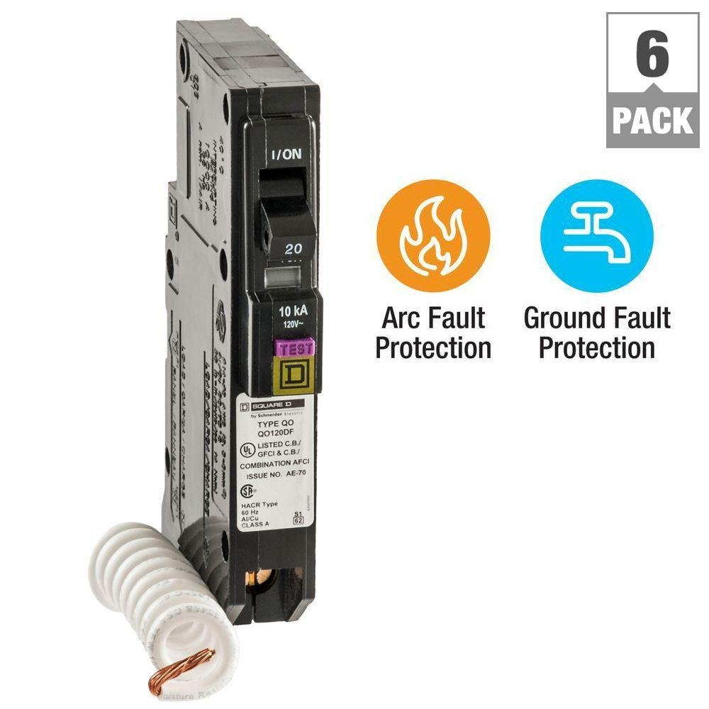 Square D QO 20 Amp Single-Pole Dual Function (CAFCI and GFCI) Circuit Breaker (6-Pack)