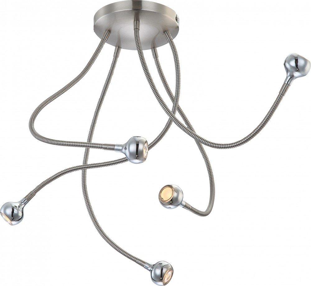 Moderne LED Deckenleuchte nickel matt, satiniert chrom chrom chrom 3W - Globo SERPENT 24109-5D 3c0967