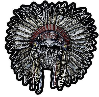 - INDIAN CHIEF SKULL Biker Quality MC Club Embroidered LARGE BACK Patch LRG-0457