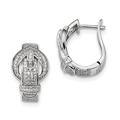 d54d5e7ad Image Unavailable. Image not available for. Color: 925 Sterling Silver  Cubic Zirconia Cz Buckle Hinged Post Stud Hoop Earrings Ear Hoops Set Drop
