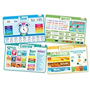 merka Time Set - Educational Kids Placemats - Includes: Time, Calendar, Seasons and Money - Non Slip Washable