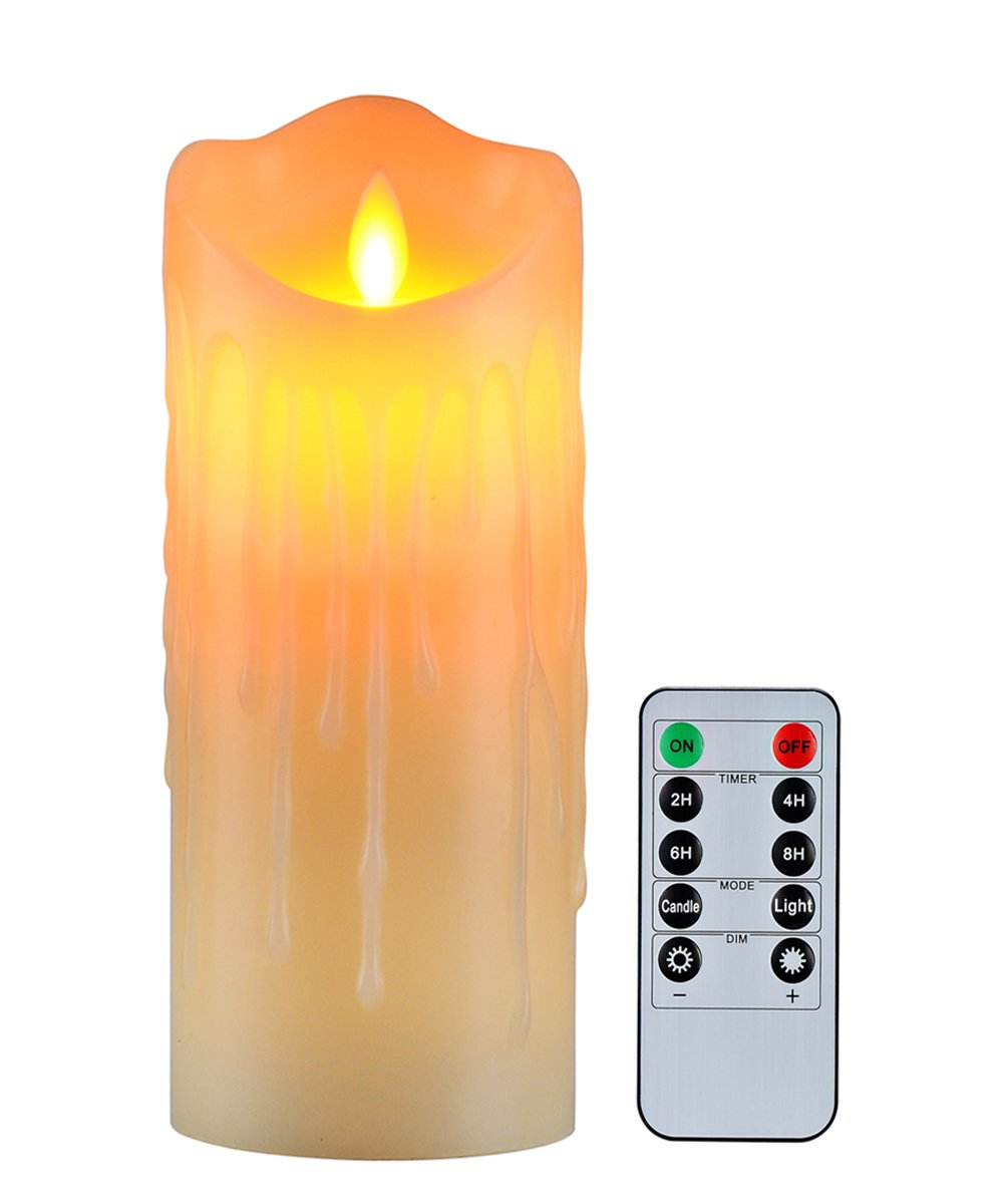 Flameless Candles with 10 Key Remote Timer Flickering Tear Wave Shaped Tealight Size 3'' 4'' 5'' 6'' 7'' 8'' Real Wax Simulate Dripping led Candles Battery Operated Safe for Indoor Outdoor Decor (3''x7.9'')