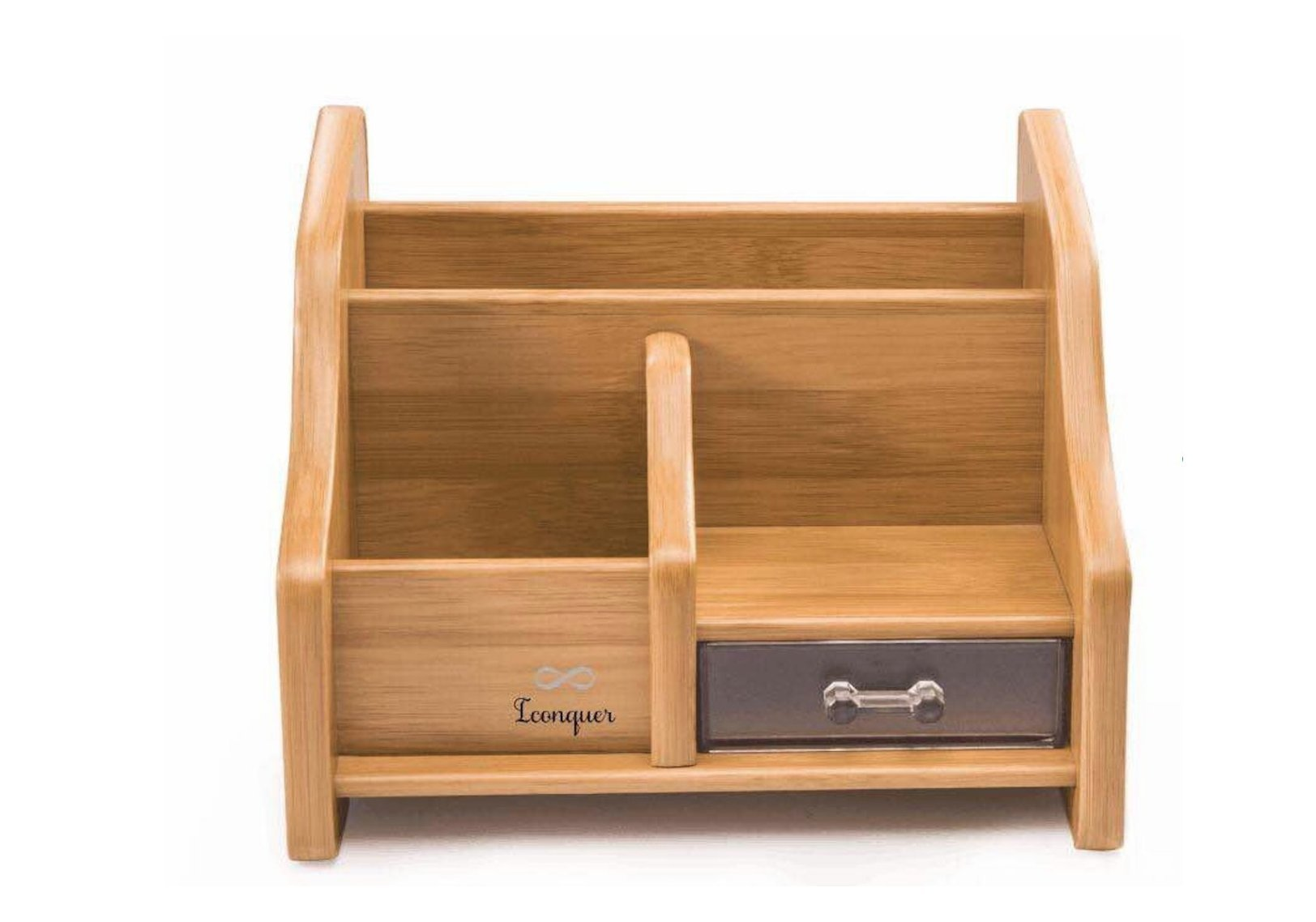 Bamboo Wood Desk Organizer – Premium Quality Workspace Organizer – 3 Compartments and 1 Acrylic Drawer – Elegant, Minimalist Design – Practical and Sturdy – Fits All Decors