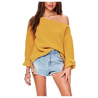 40a0431d3bb Women Sexy Off The Shoulder Sweater Cropped Oversized Chuncky Ribbed ...