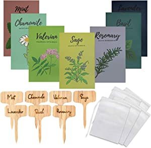 Medicinal Herb Seeds for Planting - Set of 7 Tea Seeds for Planting - Herbal Garden Kit with Lavender, Holy Basil, Rosemary, Chamomile, Valerian, Sage and Mint Seeds - Bamboo Plant Makers Included