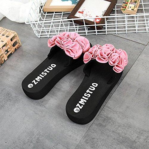 Plage Rose Fleurs Femmes D'été Pour Sandales À De Familizo Tongs axUqRR