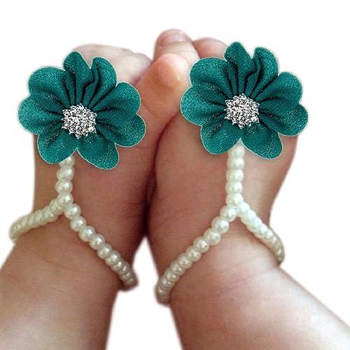 63315e8d0440f0 DZT1968 Baby Girl Pearl Chiffon Foot Flower Shoes Barefoot Sandals (Blue)