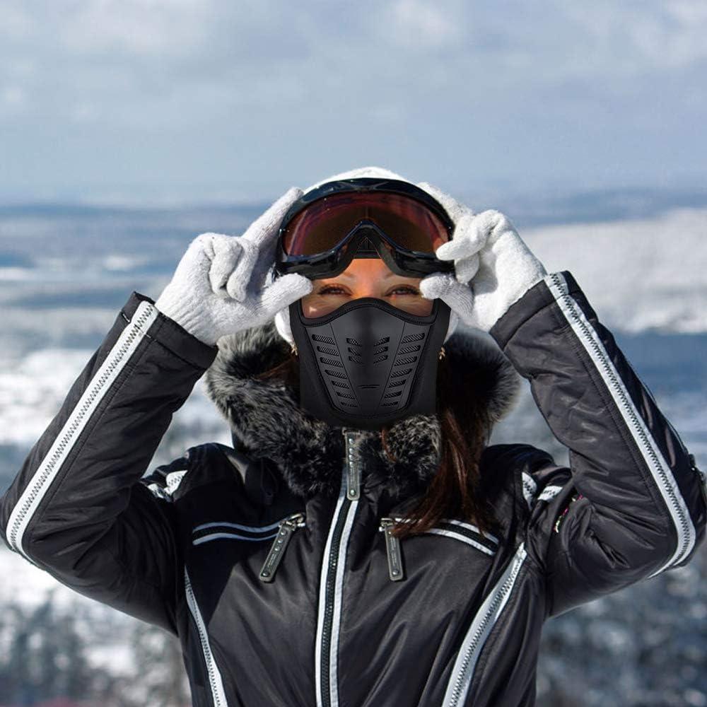 taglia flessibile protezione antivento per sci ciclismo impermeabile Caldo passamontagna integrale con fori traspiranti moto corsa copertura invernale in pile escursionismo nero M